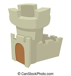 Castle tower icon, cartoon style