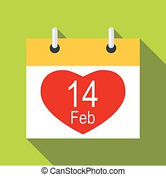 Valentines day calendar icon, flat style