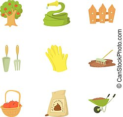 Farming icons set, cartoon style - Farming icons set....