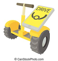 Drive on segway icon, cartoon style - Drive on segway icon....