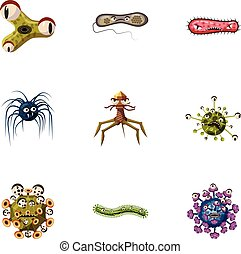 Viruses icons set, cartoon style