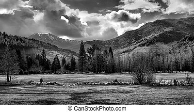 Black and white mountain landscape - Panoramic view of a...