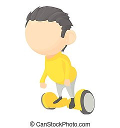 Boy on segway icon, cartoon style - Boy on segway icon....