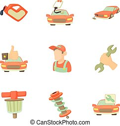 Renovation for machine icons set, cartoon style - Renovation...