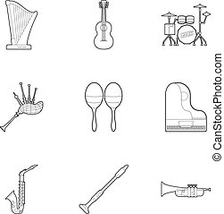 Musical device icons set, outline style