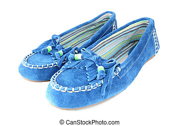 feminine shoes - blue feminine suede shoes isolated