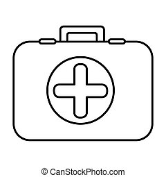 monochrome contour with firts aid kit with symbol cross in circle