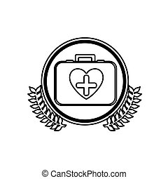 monochrome firts aid kit with symbol cross in heart in circle with olive branchs