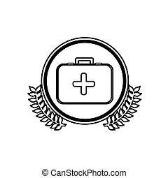 monochrome circle with firts aid kit with symbol of cross with olive branchs