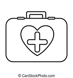 monochrome contour with firts aid kit with symbol cross in heart