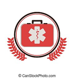 circular border with ornament leaves with first aid kit with...