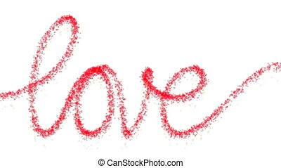 Word love with red sparkles - Word love written by red and...