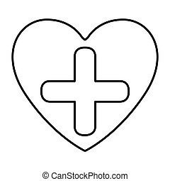 monochrome contour with symbol cross in heart