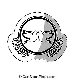 monochrome sticker of pigeons attached by the peak in circle with olive branchs