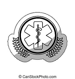 monochrome sticker with circle with olive branchs and health...