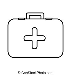 monochrome contour with firts aid kit with symbol of cross