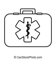 monochrome contour with firts aid kit with symbol star of life