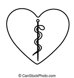 monochrome contour of heart with health symbol with serpent...