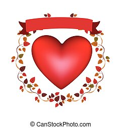 arch of autumn leaves with red heart and label vector...