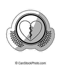 monochrome sticker of heart with health symbol with serpent...