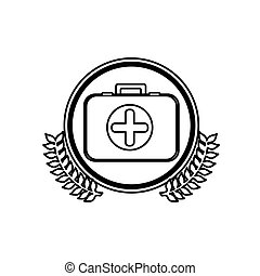 monochrome firts aid kit with symbol cross in circle with olive branchs