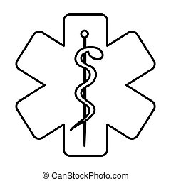 monochrome contour with health symbol with star of life...