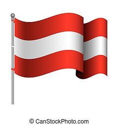 silhouette color with waving flag of austria and shadow