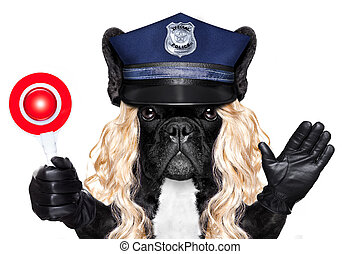 policía, parada, perro, señal, mujer policía, o