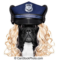 policía, mujer policía, perro, o