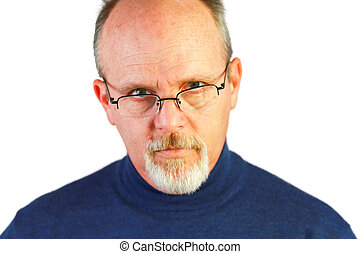 Bald Man With Goatee Looking Over Glasses - Handsome Bald...