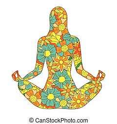 floral silhouette yoga girl
