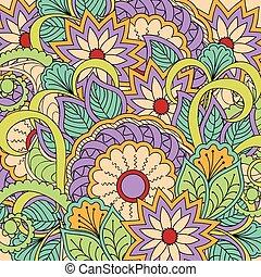 colorful zen-like pattern - Hand drawn pattern in boho style...