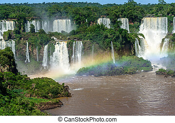 Aerial view of waterfalls cascade of Iguazu Falls with...