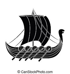 Viking s ship icon in black style isolated on white background. Vikings symbol stock vector illustration.