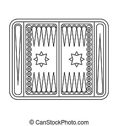 Backgammon icon in outline style isolated on white...