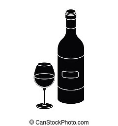 Spanish wine bottle with glass icon in black style isolated...