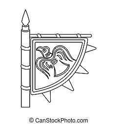 Viking s flag icon in outline style isolated on white...