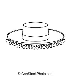 Traditional spanish hat icon in outline style isolated on...
