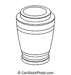 Funeral urns icon in outline style isolated on white...