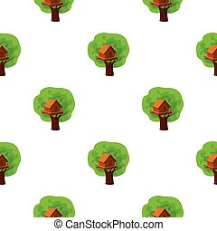 Tree house icon in cartoon style isolated on white...