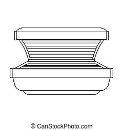 Tanning bed icon in outline style isolated on white background. Skin care symbol stock vector illustration.