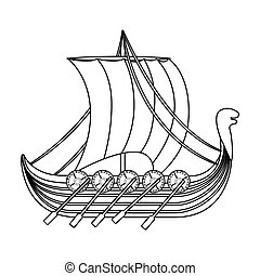 Viking s ship icon in outline style isolated on white background. Vikings symbol stock vector illustration.