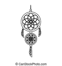 Dreamcatcher icon in outline style isolated on white background. Sleep and rest symbol stock vector illustration.