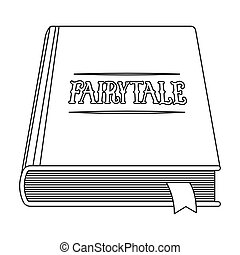 Book with fairytales icon in outline style isolated on white...