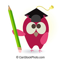 owl and pencil