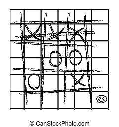 Tic-tac-toe icon in outline style isolated on white...