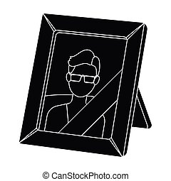 Portrait of deceased person icon in black style isolated on...