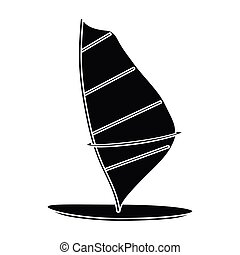 Windsurf board icon in black style isolated on white...