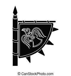 Viking s flag icon in black style isolated on white...