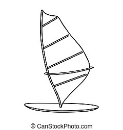 Windsurf board icon in outline style isolated on white...